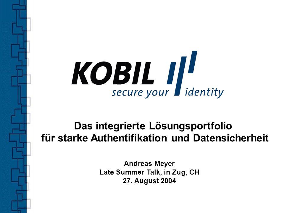 Gründung des Unternehmens 1986 Zentrale in Worms 60 Mitarbeiter 35% der KOBIL Mitarbeiter für Forschung & Entwicklung tätig Enge Kooperation mit Wissenschaftlern aus dem Bereich Kryptografie Alle Produkte Made in Germany Zertifiziertes Unternehmen gemäß DIN EN ISO 9001: 2000 Das Unternehmen