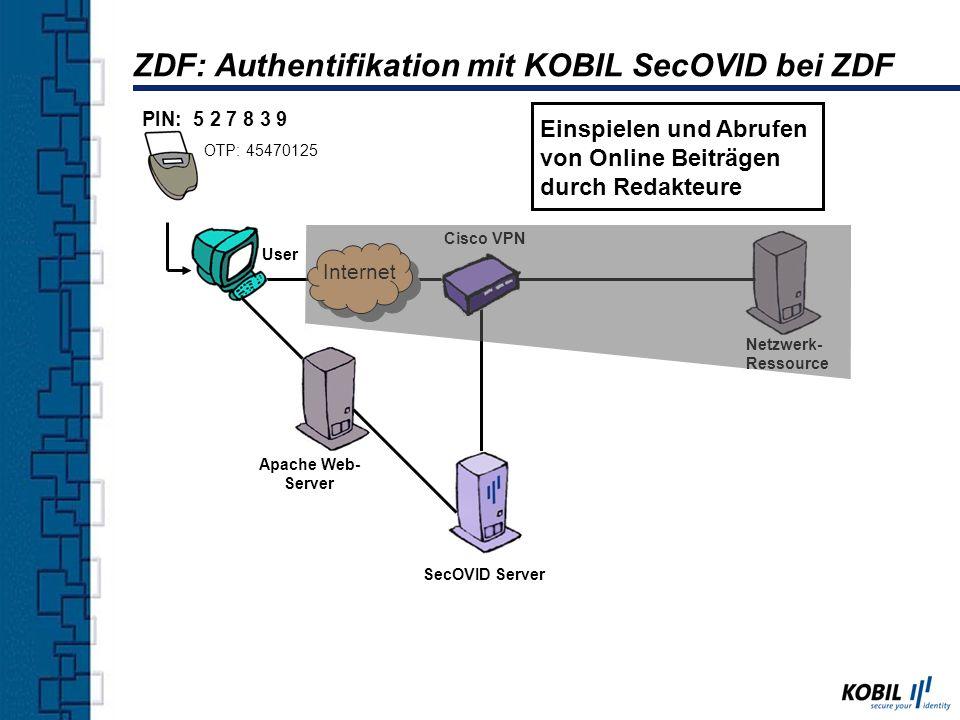 ZDF: Authentifikation mit KOBIL SecOVID bei ZDF Netzwerk- Ressource SecOVID Server PIN: 5 2 7 8 3 9 User OTP: 45470125 Cisco VPN Internet Einspielen u