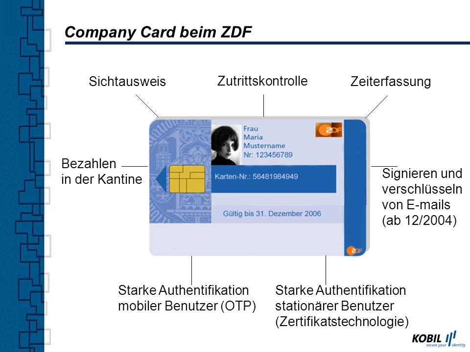 Sichtausweis Zutrittskontrolle Zeiterfassung Starke Authentifikation mobiler Benutzer (OTP) Starke Authentifikation stationärer Benutzer (Zertifikatst