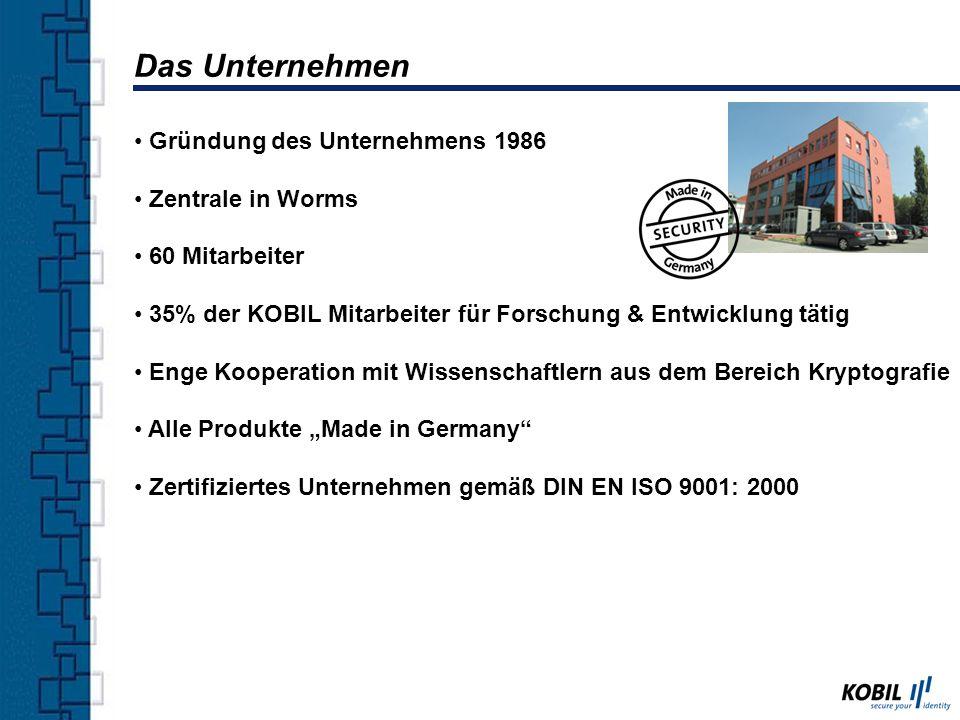 Gründung des Unternehmens 1986 Zentrale in Worms 60 Mitarbeiter 35% der KOBIL Mitarbeiter für Forschung & Entwicklung tätig Enge Kooperation mit Wisse