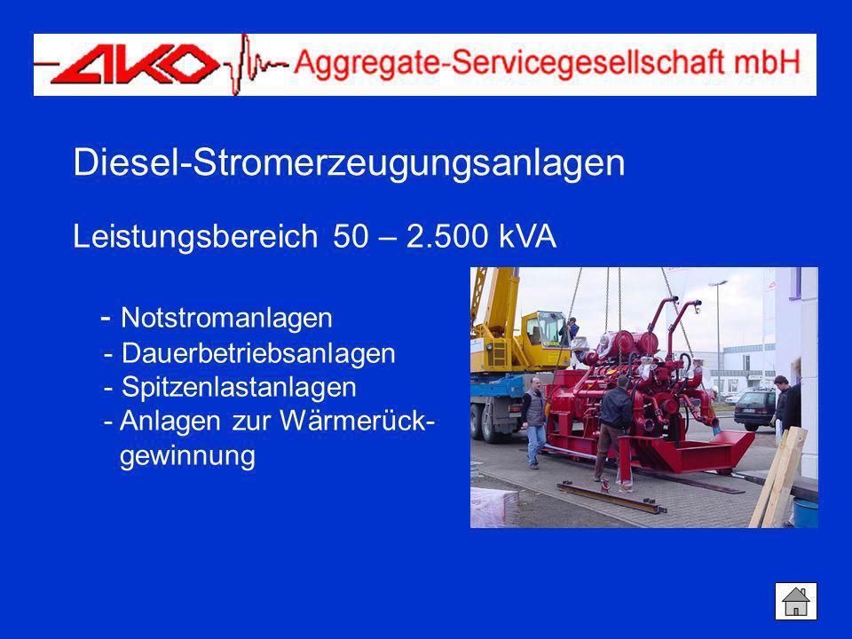 Diesel-Stromerzeugungsanlagen Leistungsbereich 50 – 2.500 kVA - Notstromanlagen - Dauerbetriebsanlagen - Spitzenlastanlagen - Anlagen zur Wärmerück- g