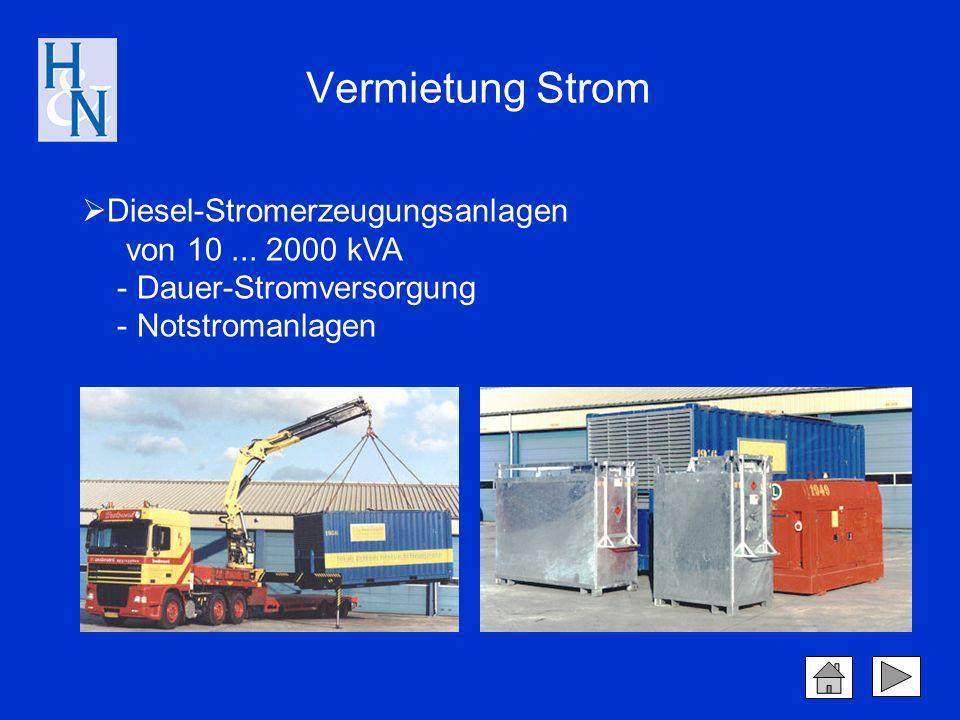Diesel-Stromerzeugungsanlagen von 10... 2000 kVA - Dauer-Stromversorgung - Notstromanlagen Vermietung Strom