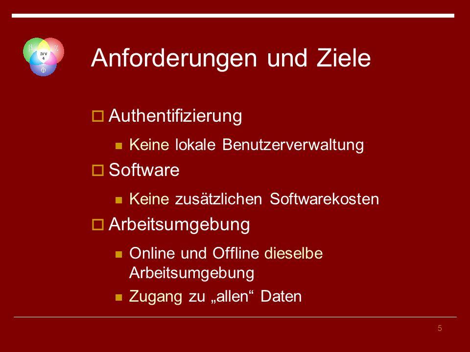 5 Anforderungen und Ziele Authentifizierung Keine lokale Benutzerverwaltung Software Keine zusätzlichen Softwarekosten Arbeitsumgebung Online und Offline dieselbe Arbeitsumgebung Zugang zu allen Daten
