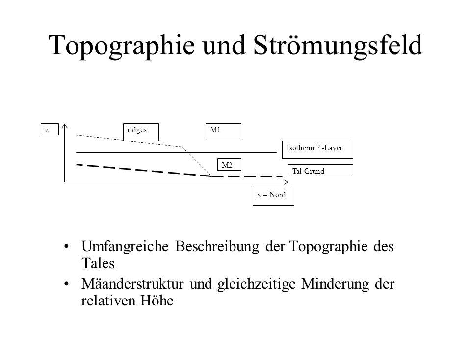 Topographie und Strömungsfeld Umfangreiche Beschreibung der Topographie des Tales Mäanderstruktur und gleichzeitige Minderung der relativen Höhe ridges M2 Tal-Grund M1 Isotherm .