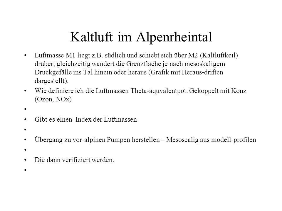 Kaltluft im Alpenrheintal Luftmasse M1 liegt z.B. südlich und schiebt sich über M2 (Kaltluftkeil) drüber; gleichzeitig wandert die Grenzfläche je nach