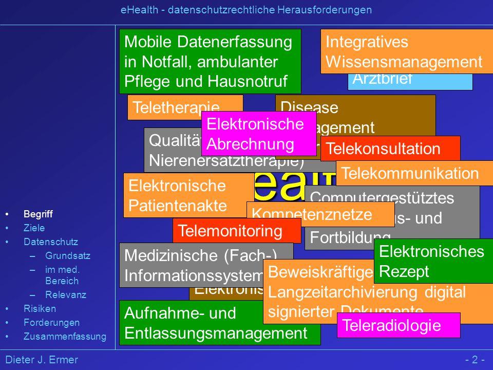 Dieter J. Ermer eHealth - datenschutzrechtliche Herausforderungen - 2 - eHealth ? Qualitätssicherung (z.B. Nierenersatztherapie) Teletherapie Elektron