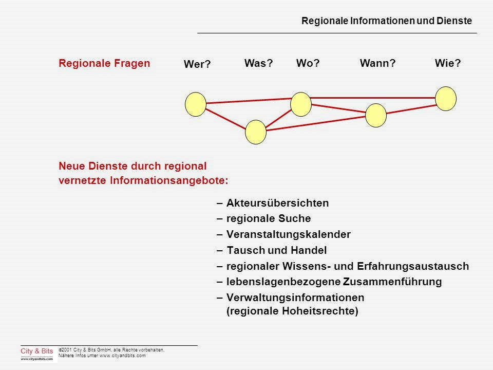 2001 City & Bits GmbH, alle Rechte vorbehalten, Nähere Infos unter www.cityandbits.com Regionale Informationen und Dienste –Akteursübersichten –region