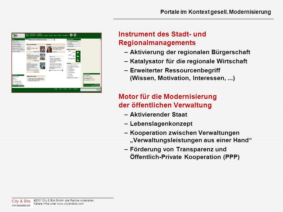 2001 City & Bits GmbH, alle Rechte vorbehalten, Nähere Infos unter www.cityandbits.com Portale im Kontext gesell. Modernisierung Instrument des Stadt-