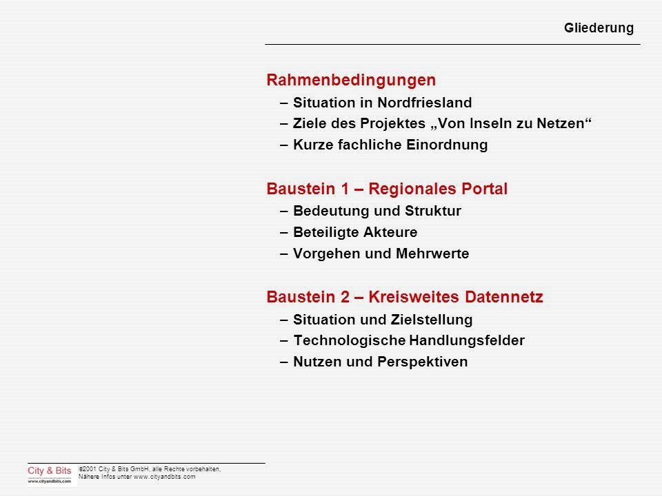 2001 City & Bits GmbH, alle Rechte vorbehalten, Nähere Infos unter www.cityandbits.com Gliederung Rahmenbedingungen –Situation in Nordfriesland –Ziele