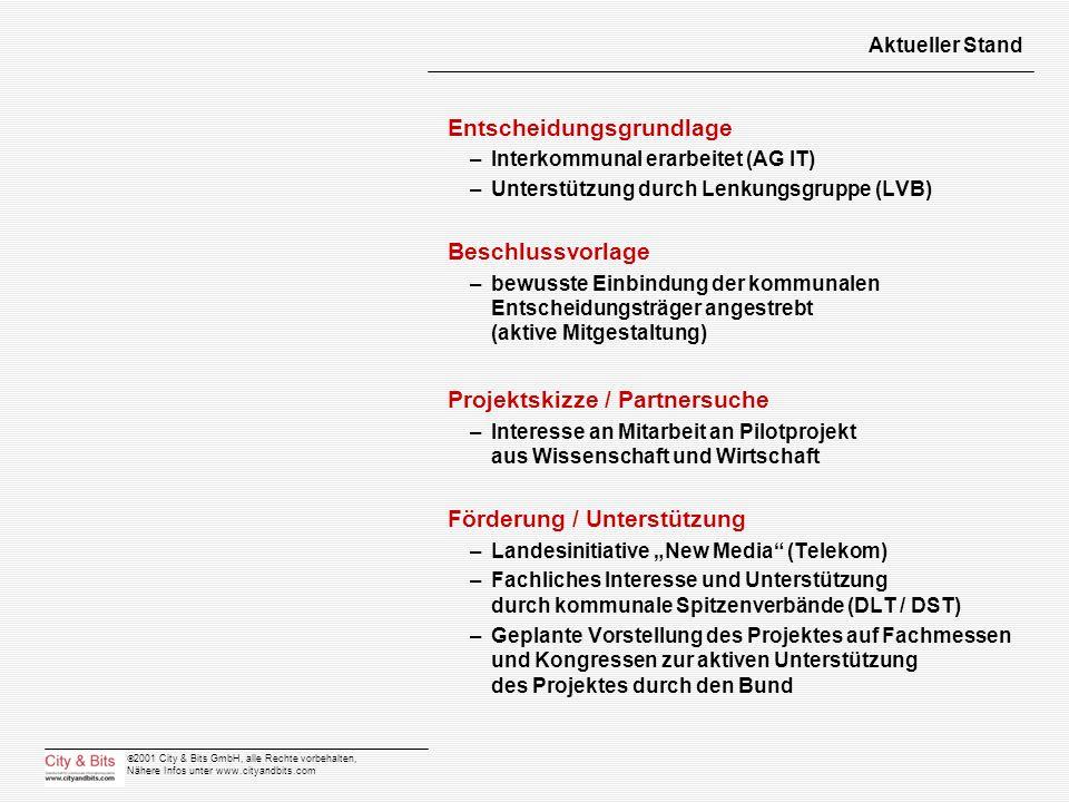 2001 City & Bits GmbH, alle Rechte vorbehalten, Nähere Infos unter www.cityandbits.com Aktueller Stand Entscheidungsgrundlage –Interkommunal erarbeite