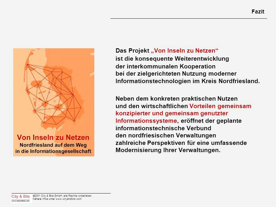 2001 City & Bits GmbH, alle Rechte vorbehalten, Nähere Infos unter www.cityandbits.com Fazit Das Projekt Von Inseln zu Netzen ist die konsequente Weit