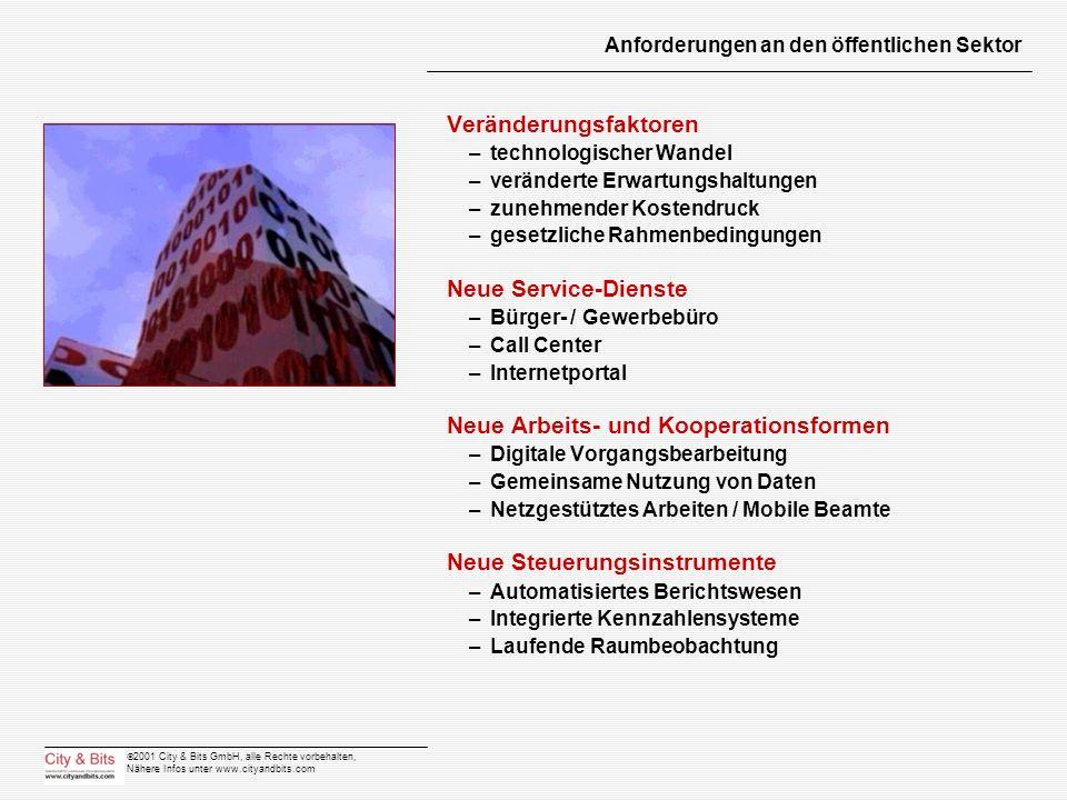 2001 City & Bits GmbH, alle Rechte vorbehalten, Nähere Infos unter www.cityandbits.com Anforderungen an den öffentlichen Sektor Veränderungsfaktoren –