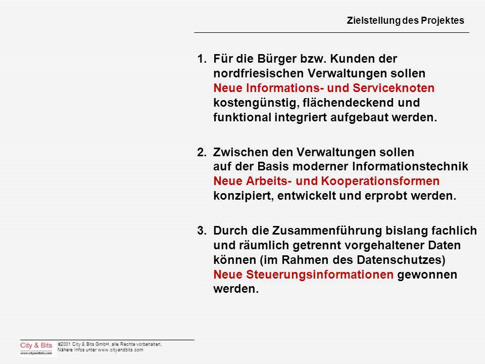 2001 City & Bits GmbH, alle Rechte vorbehalten, Nähere Infos unter www.cityandbits.com Zielstellung des Projektes 1.Für die Bürger bzw. Kunden der nor