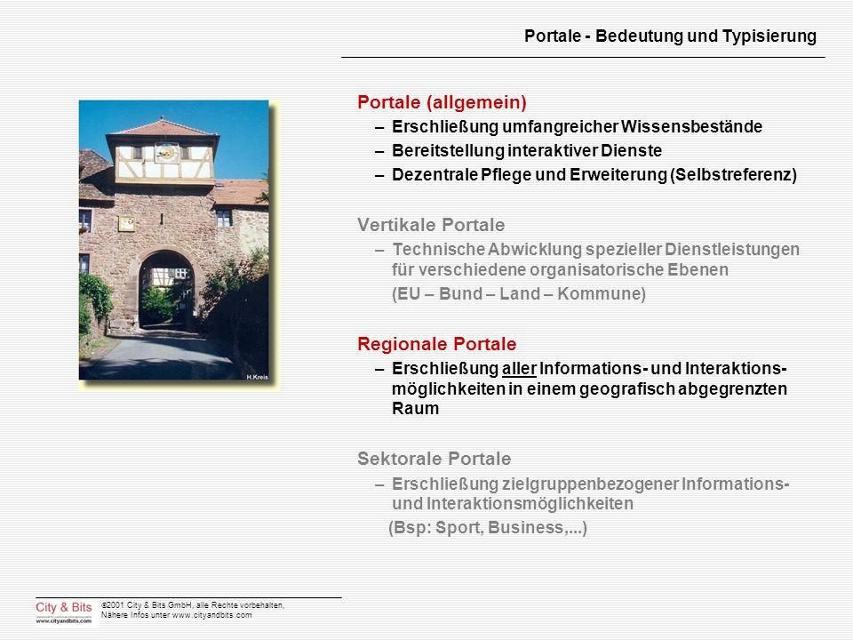 2001 City & Bits GmbH, alle Rechte vorbehalten, Nähere Infos unter www.cityandbits.com Portale - Bedeutung und Typisierung Portale (allgemein) –Erschl