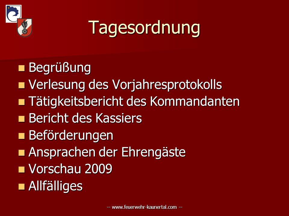 -- www.feuerwehr-kaunertal.com -- Tagesordnung Begrüßung Begrüßung Verlesung Verlesung des Vorjahresprotokolls Tätigkeitsbericht Tätigkeitsbericht des