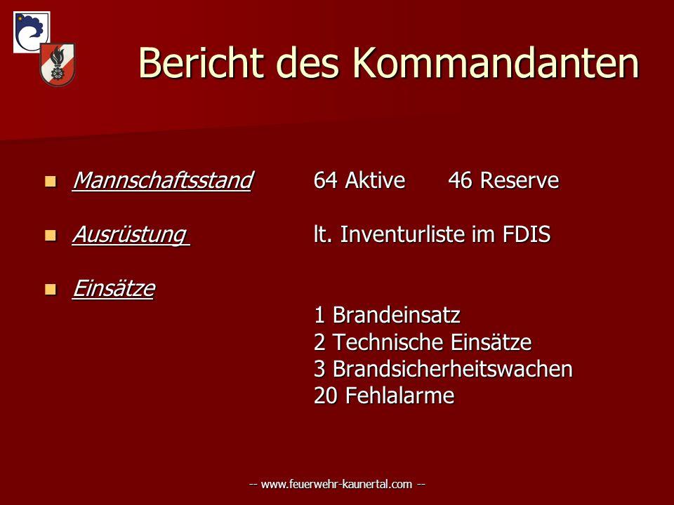 -- www.feuerwehr-kaunertal.com -- Bericht des Kommandanten Bericht des Kommandanten Mannschaftsstand64 Aktive46 Reserve Mannschaftsstand64 Aktive46 Re