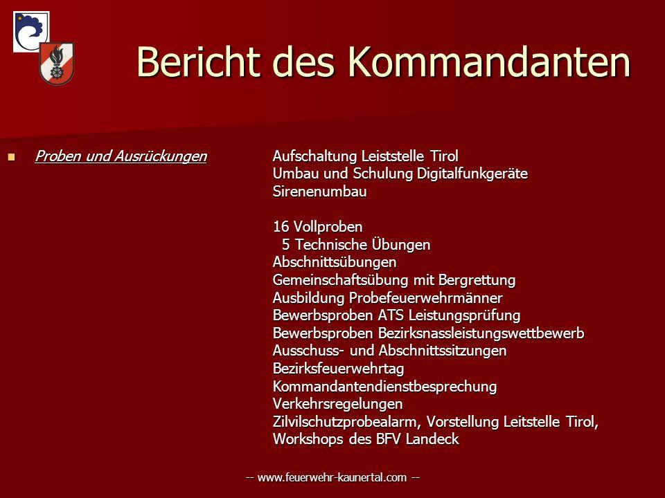 -- www.feuerwehr-kaunertal.com -- Bericht des Kommandanten Bericht des Kommandanten Proben und AusrückungenAufschaltung Leiststelle Tirol Proben und A