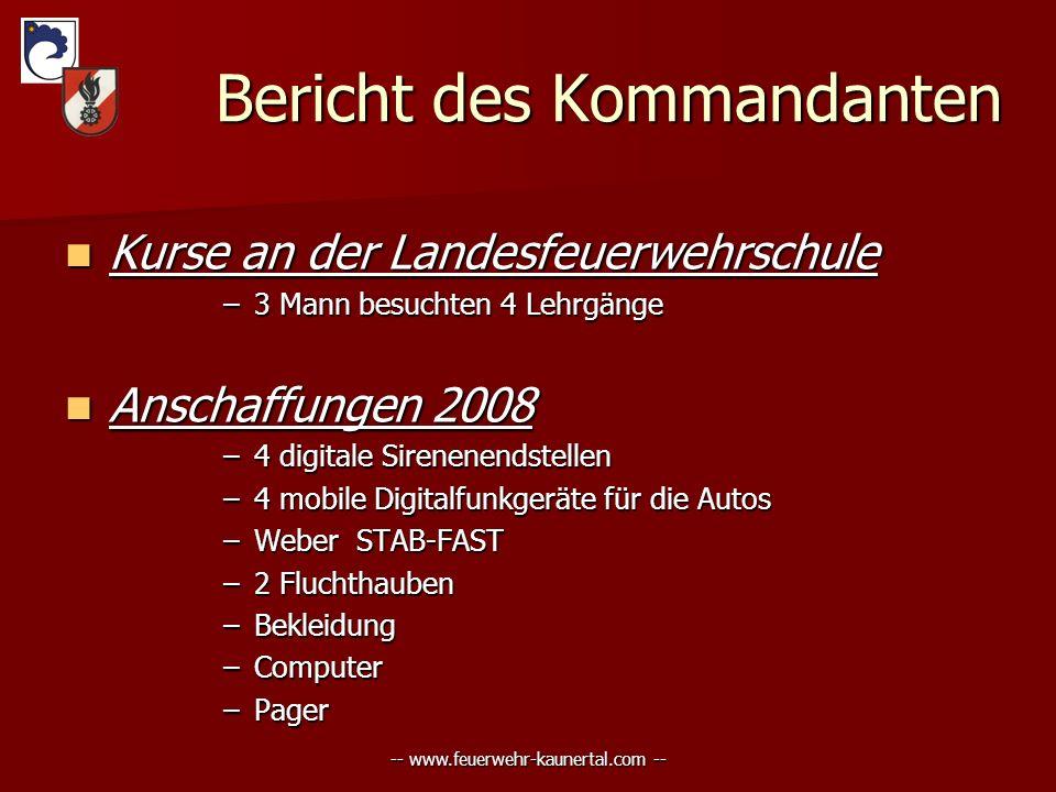 -- www.feuerwehr-kaunertal.com -- Bericht des Kommandanten Bericht des Kommandanten Kurse Kurse an der Landesfeuerwehrschule –3 –3 Mann besuchten 4 Le