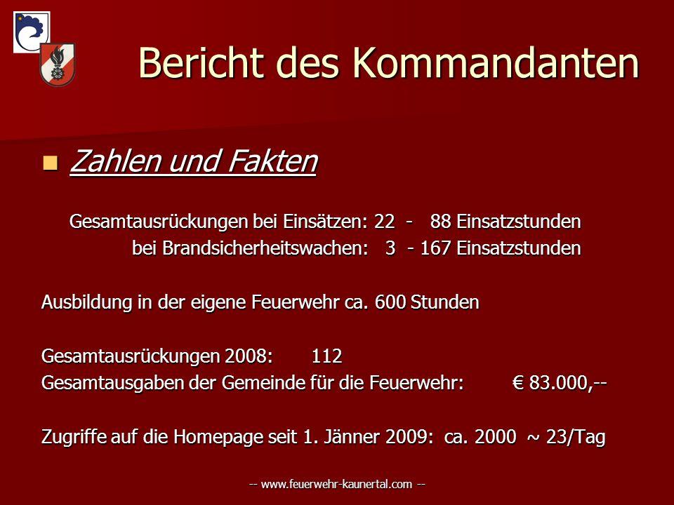 -- www.feuerwehr-kaunertal.com -- Bericht des Kommandanten Bericht des Kommandanten Zahlen und Fakten Zahlen und Fakten Gesamtausrückungen bei Einsätz