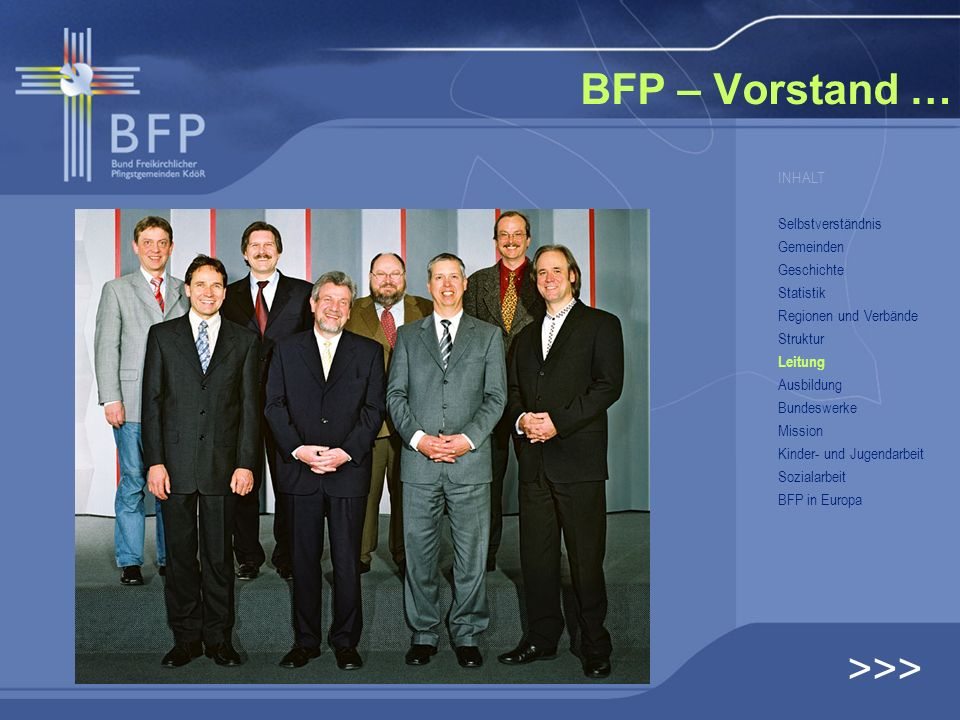 BFP – Vorstand … >>> INHALT Selbstverständnis Gemeinden Geschichte Statistik Regionen und Verbände Struktur Leitung Ausbildung Bundeswerke Mission Kin
