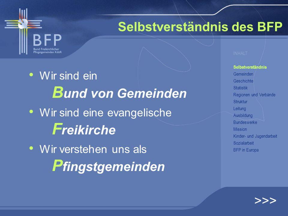 Selbstverständnis des BFP Wir sind ein B und von Gemeinden Wir sind eine evangelische F reikirche Wir verstehen uns als P fingstgemeinden >>> INHALT S