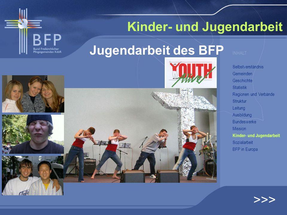 Jugendarbeit des BFP Kinder- und Jugendarbeit >>> INHALT Selbstverständnis Gemeinden Geschichte Statistik Regionen und Verbände Struktur Leitung Ausbi