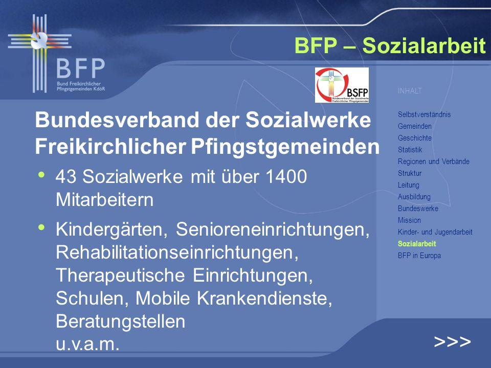 Bundesverband der Sozialwerke Freikirchlicher Pfingstgemeinden 43 Sozialwerke mit über 1400 Mitarbeitern Kindergärten, Senioreneinrichtungen, Rehabili