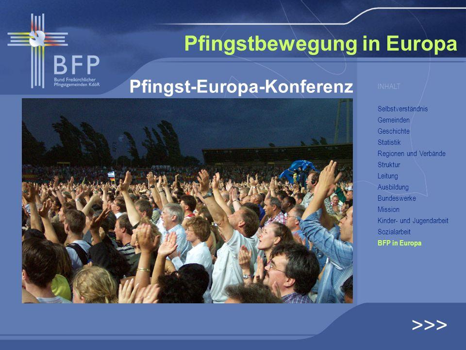 Pfingstbewegung in Europa Pfingst-Europa-Konferenz >>> INHALT Selbstverständnis Gemeinden Geschichte Statistik Regionen und Verbände Struktur Leitung