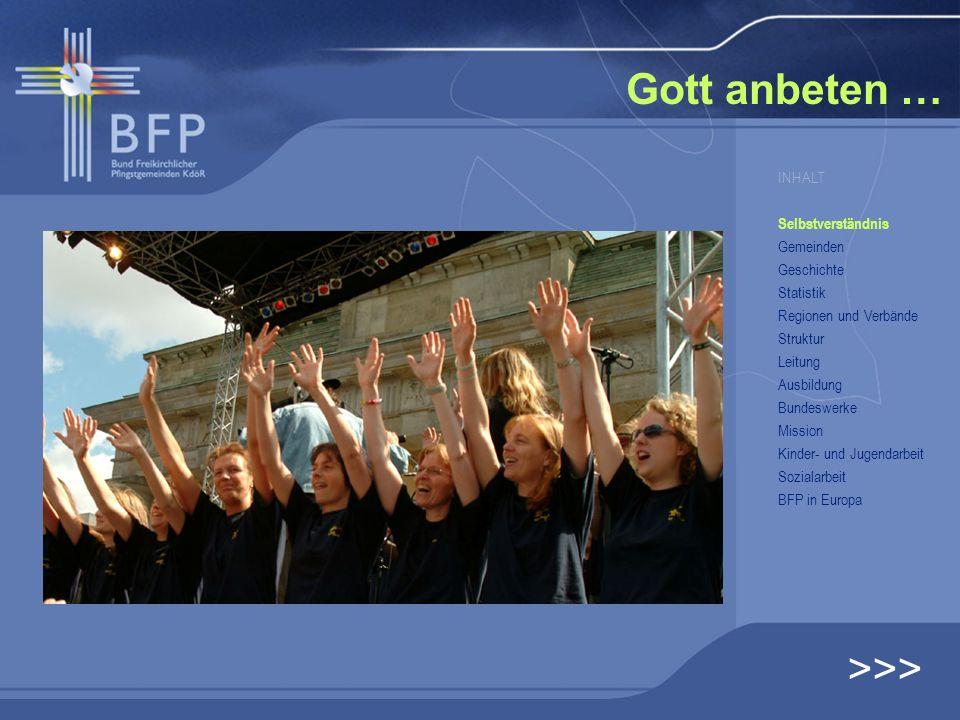 BFP – Vorstand … >>> INHALT Selbstverständnis Gemeinden Geschichte Statistik Regionen und Verbände Struktur Leitung Ausbildung Bundeswerke Mission Kinder- und Jugendarbeit Sozialarbeit BFP in Europa