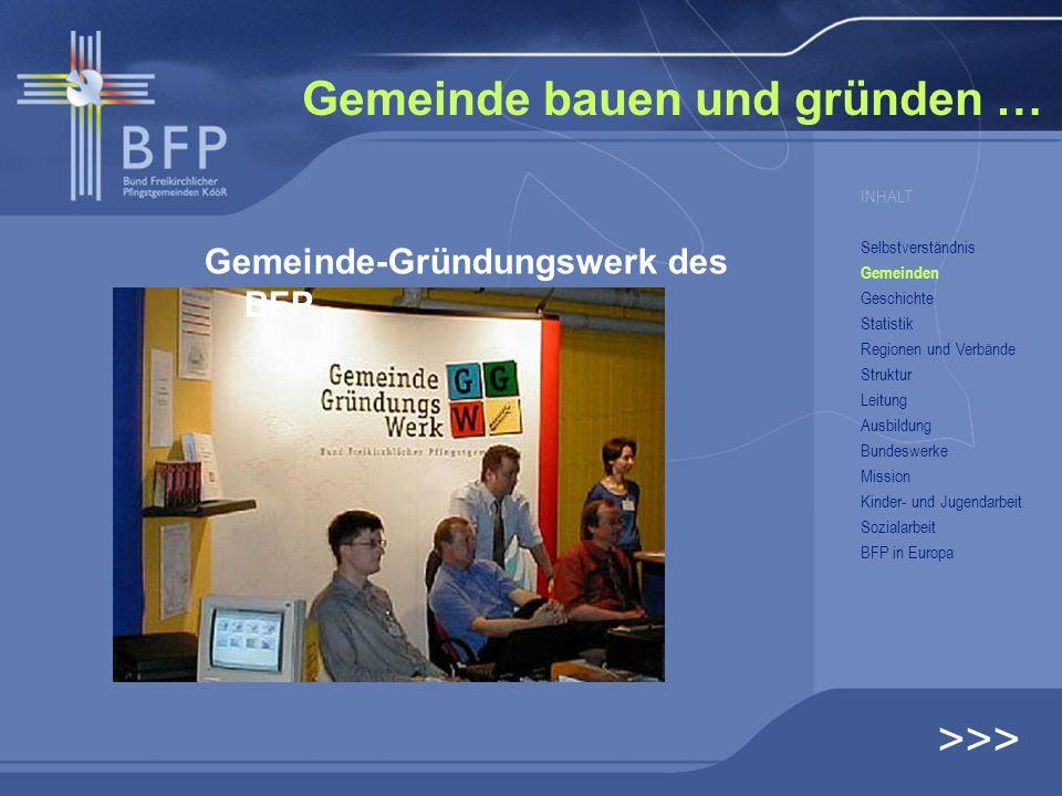 Gemeinde bauen und gründen … >>> INHALT Selbstverständnis Gemeinden Geschichte Statistik Regionen und Verbände Struktur Leitung Ausbildung Bundeswerke