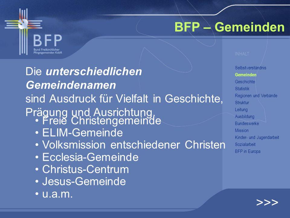 BFP – Gemeinden Die unterschiedlichen Gemeindenamen sind Ausdruck für Vielfalt in Geschichte, Prägung und Ausrichtung. INHALT Selbstverständnis Gemein