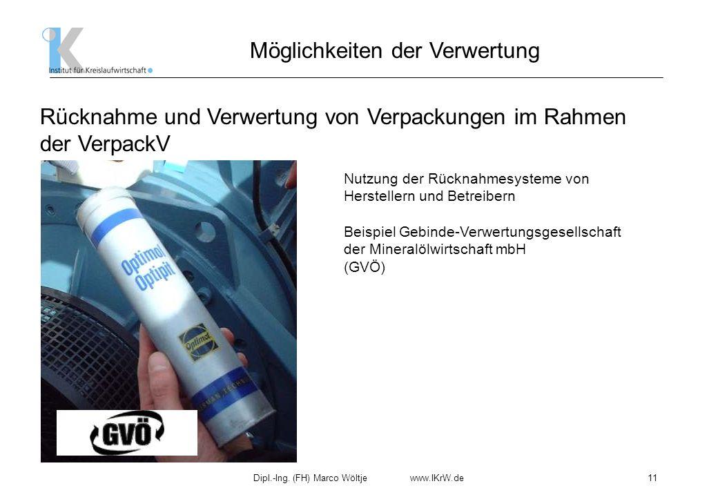 Dipl.-Ing. (FH) Marco Wöltje www.IKrW.de11 Möglichkeiten der Verwertung Rücknahme und Verwertung von Verpackungen im Rahmen der VerpackV Nutzung der R