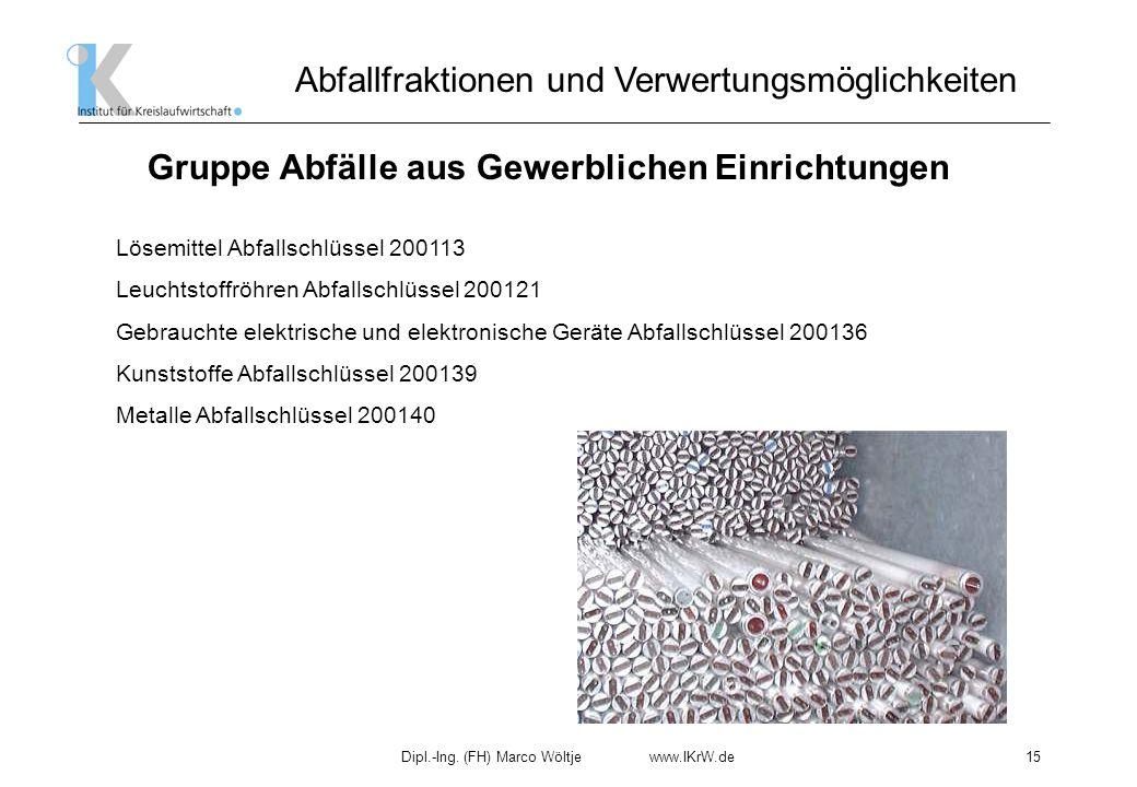 Dipl.-Ing. (FH) Marco Wöltje www.IKrW.de15 Abfallfraktionen und Verwertungsmöglichkeiten Gruppe Abfälle aus Gewerblichen Einrichtungen Lösemittel Abfa
