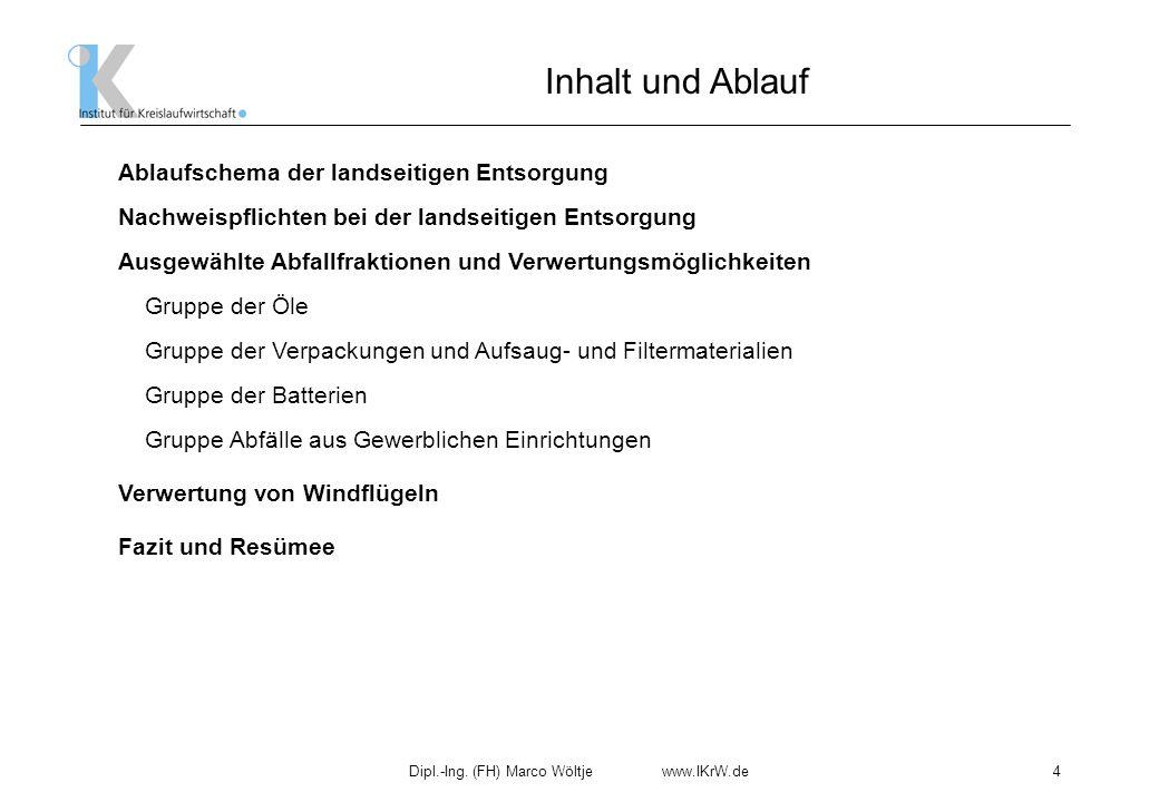 Dipl.-Ing. (FH) Marco Wöltje www.IKrW.de4 Ablaufschema der landseitigen Entsorgung Ausgewählte Abfallfraktionen und Verwertungsmöglichkeiten Gruppe de