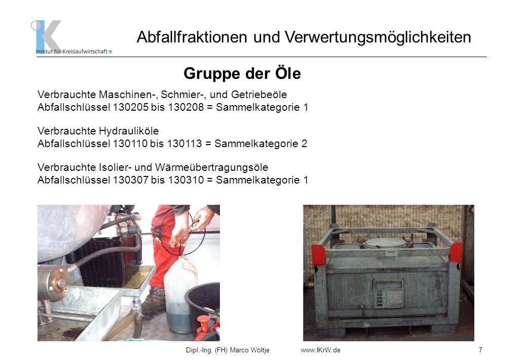 Dipl.-Ing. (FH) Marco Wöltje www.IKrW.de7 Abfallfraktionen und Verwertungsmöglichkeiten Gruppe der Öle Verbrauchte Hydrauliköle Abfallschlüssel 130110