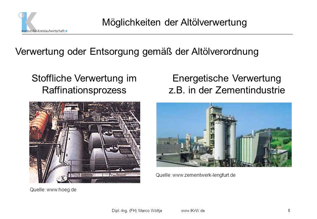 Dipl.-Ing. (FH) Marco Wöltje www.IKrW.de8 Möglichkeiten der Altölverwertung Verwertung oder Entsorgung gemäß der Altölverordnung Stoffliche Verwertung