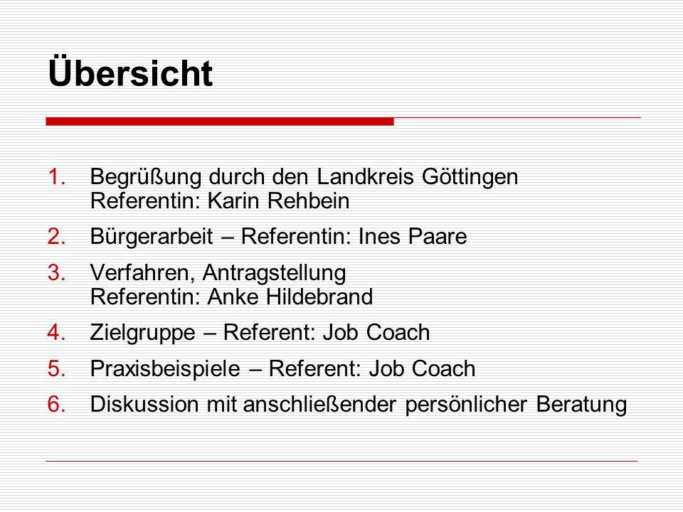 Übersicht 1.Begrüßung durch den Landkreis Göttingen Referentin: Karin Rehbein 2.Bürgerarbeit – Referentin: Ines Paare 3.Verfahren, Antragstellung Refe