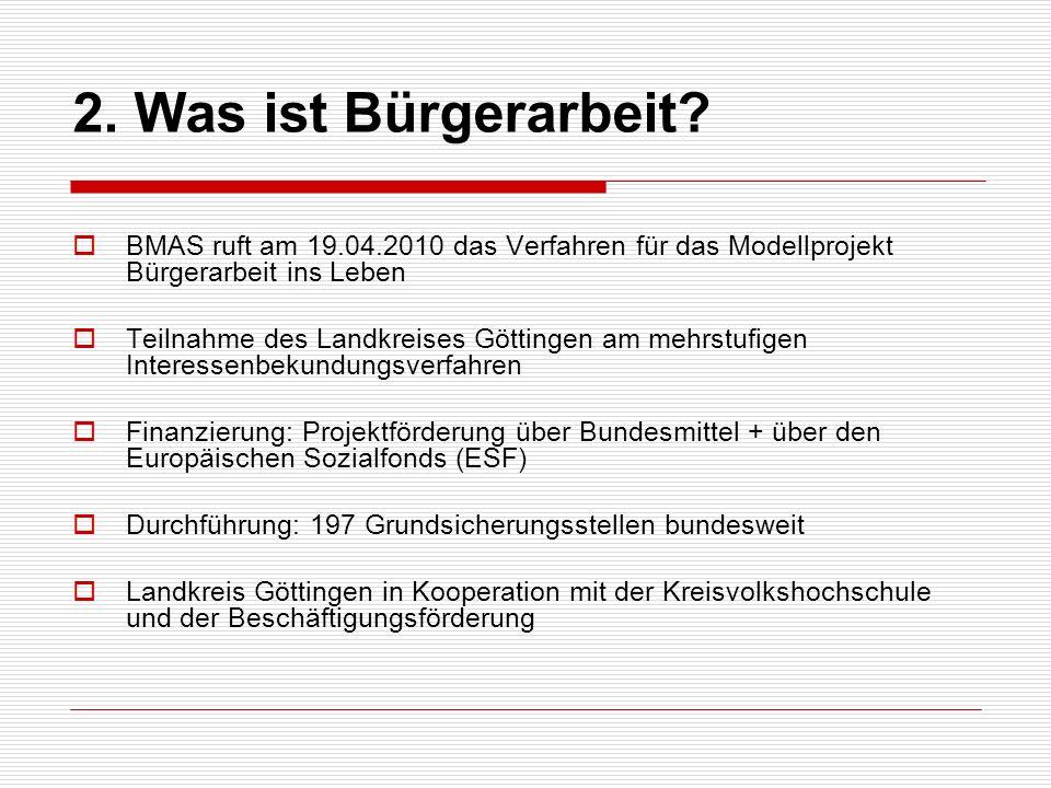 BMAS ruft am 19.04.2010 das Verfahren für das Modellprojekt Bürgerarbeit ins Leben Teilnahme des Landkreises Göttingen am mehrstufigen Interessenbekun