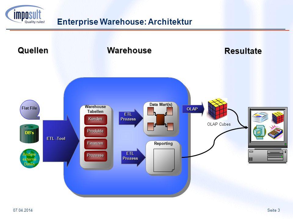 Seite 307.04.2014 Warehouse Quellen Resultate ETL -Tool ETL -Tool KundenWarehouseTabellenProdukte Finanzen Prozesse ETLProzess Data Mart(s) Flat File Andere externe Daten DBs OLAP OLAP Cubes Enterprise Warehouse: Architektur ETLProzessReporting