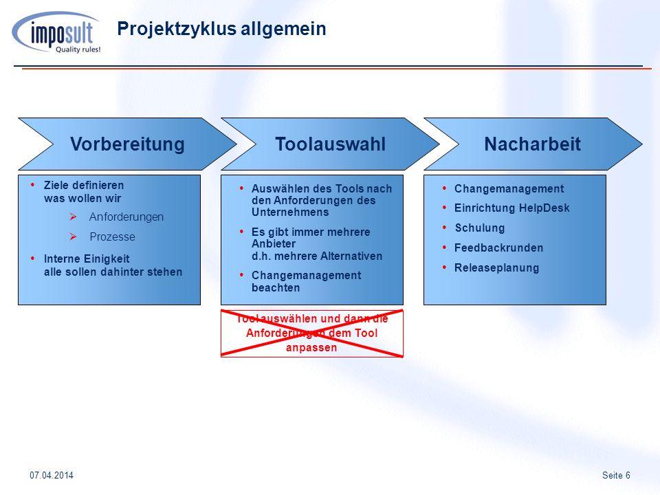 Seite 607.04.2014 Tool auswählen und dann die Anforderungen dem Tool anpassen Projektzyklus allgemein Ziele definieren was wollen wir Anforderungen Pr