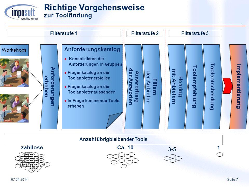 Seite 707.04.2014 Richtige Vorgehensweise zur Toolfindung Anforderungen erheben Workshops Anforderungskatalog Konsolidieren der Anforderungen in Grupp