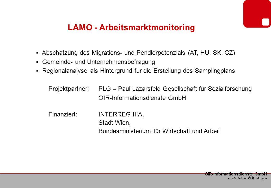 ein Mitglied der -Gruppe ÖIR-Informationsdienste GmbH LAMO – Stand der Arbeit Gemeindebefragung Auswahl erfolgte sowohl nach demografischen als auch nach räumlichen Kriterien Abgefragt wurden persönliche Daten, Arbeits- und Einkommenssituation, Zufriedenheit, Pendel- und Migrationsbereitsschaft usw.
