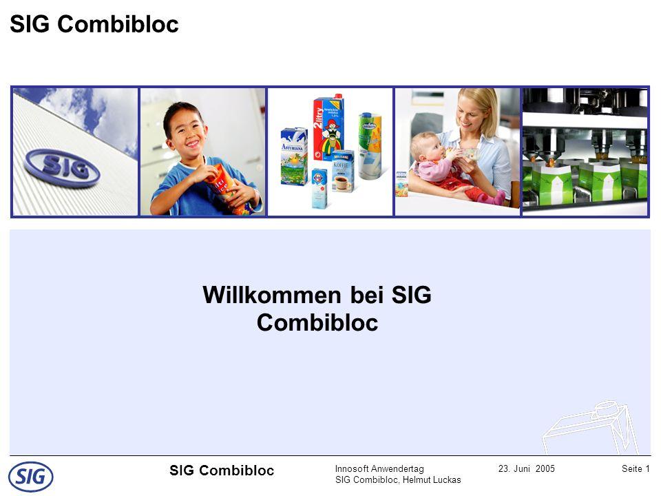 Innosoft Anwendertag SIG Combibloc, Helmut Luckas 23. Juni 2005Seite 1 SIG Combibloc Willkommen bei SIG Combibloc SIG Combibloc