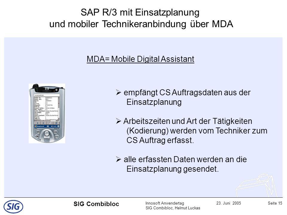Innosoft Anwendertag SIG Combibloc, Helmut Luckas 23. Juni 2005Seite 15 SIG Combibloc MDA= Mobile Digital Assistant empfängt CS Auftragsdaten aus der