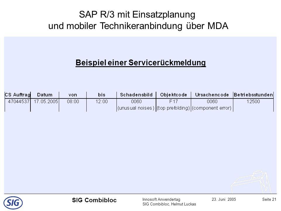 Innosoft Anwendertag SIG Combibloc, Helmut Luckas 23. Juni 2005Seite 21 SIG Combibloc Beispiel einer Servicerückmeldung SAP R/3 mit Einsatzplanung und