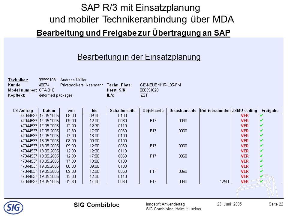 Innosoft Anwendertag SIG Combibloc, Helmut Luckas 23. Juni 2005Seite 22 SIG Combibloc Bearbeitung und Freigabe zur Übertragung an SAP Bearbeitung in d