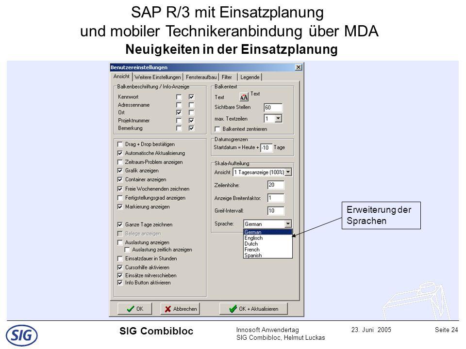 Innosoft Anwendertag SIG Combibloc, Helmut Luckas 23. Juni 2005Seite 24 SIG Combibloc SAP R/3 mit Einsatzplanung und mobiler Technikeranbindung über M