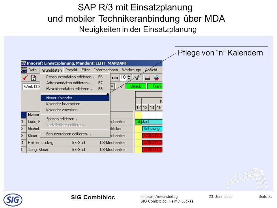 Innosoft Anwendertag SIG Combibloc, Helmut Luckas 23. Juni 2005Seite 25 SIG Combibloc SAP R/3 mit Einsatzplanung und mobiler Technikeranbindung über M