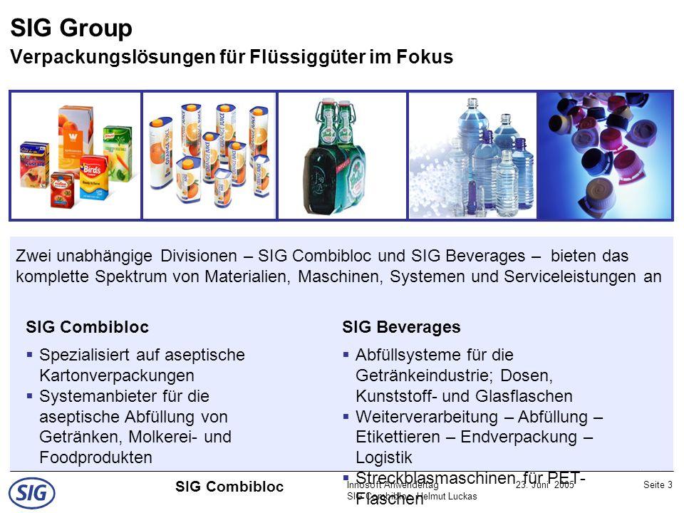 Innosoft Anwendertag SIG Combibloc, Helmut Luckas 23. Juni 2005Seite 3 SIG Combibloc Zwei unabhängige Divisionen – SIG Combibloc und SIG Beverages – b