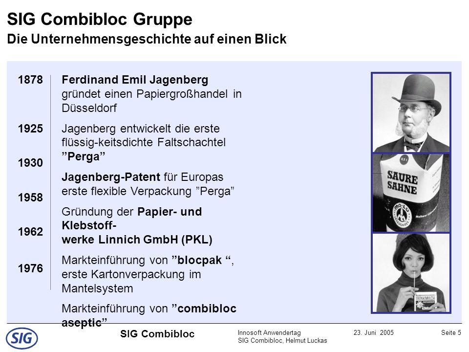 Innosoft Anwendertag SIG Combibloc, Helmut Luckas 23. Juni 2005Seite 5 SIG Combibloc SIG Combibloc Gruppe Die Unternehmensgeschichte auf einen Blick 1